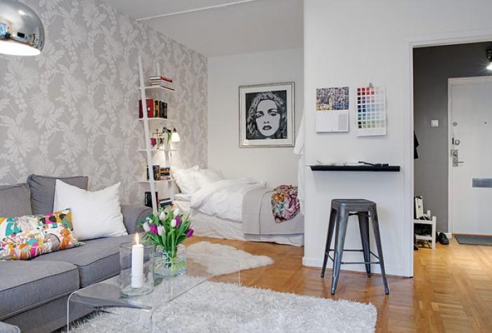 Ma e mieszkanie w skandynawskiej ods onie mieszkaniowe for Como decorar un estudio pequeno