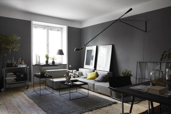 Ciemne ciany mieszkaniowe inspiracje - How much to furnish a 2 bedroom apartment ...