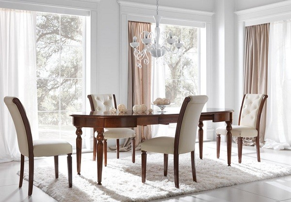 Wooden Dining Table Set Cream Leather Chairs Classic Chandelier Brown Curtain Classic Interior Design Style
