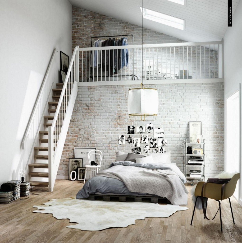 Scandinavian-style-design-in-modern-room-design-with-brick-wall-decoration