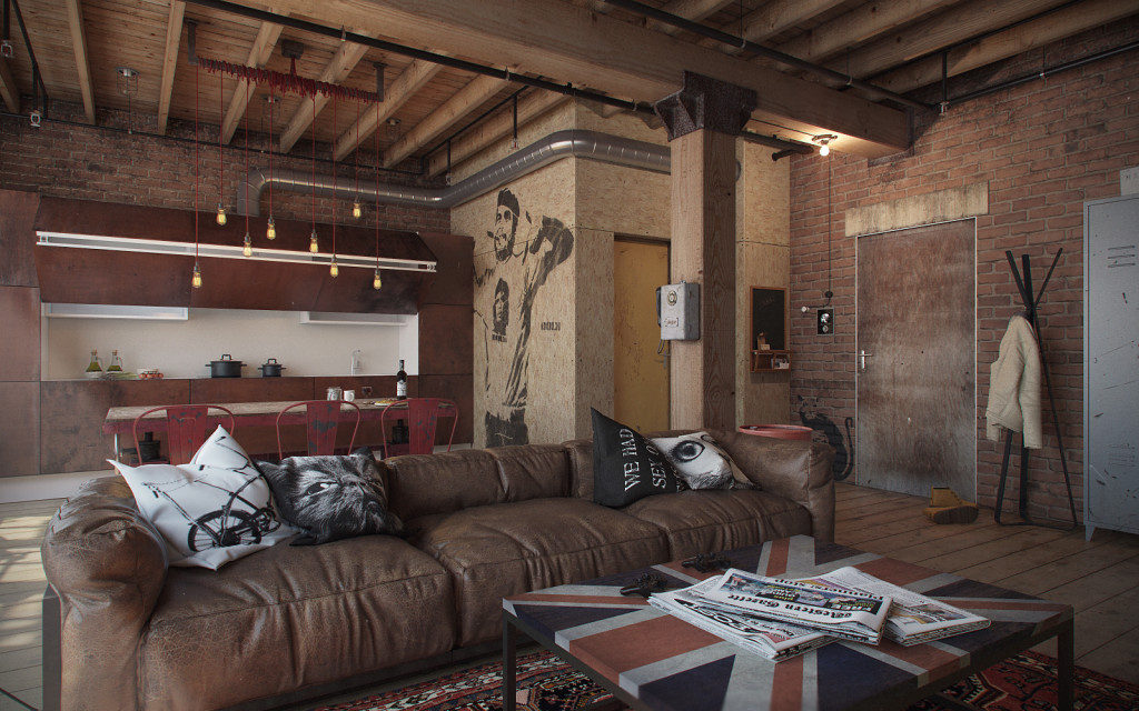 Den-Loft-Chic-loft-style-studio-by-Nordes-1